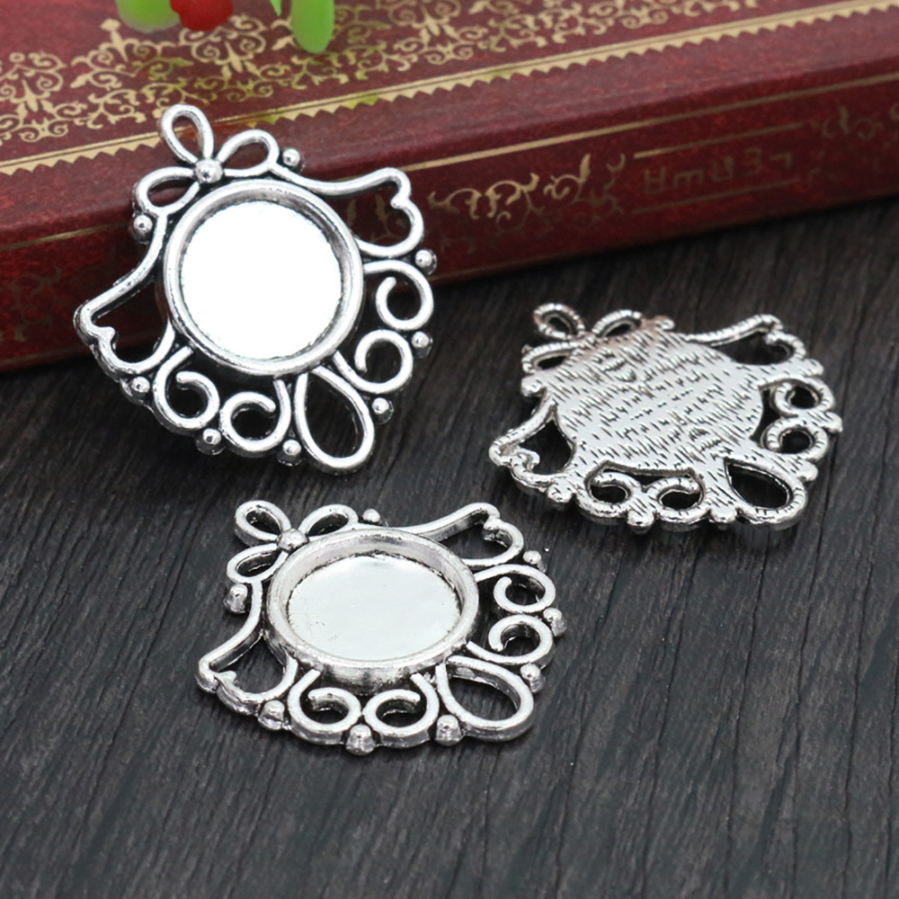 12pcs 12mm Inner Size Antique Silver Plated Fashion Style Cabochon Base Cameo Setting Charms Pendant (A2-35)