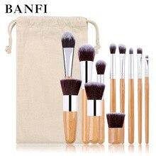 11PCs Natürliche Bambus Make Up Pinsel Set Hohe Qualität Foundation Blending Frauen Schönheit Kosmetik Bilden Werkzeug Set Mit Baumwolle tasche