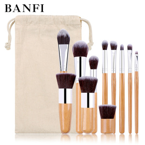 Image 1 - 11PCs Natural Bamboo Makeup Brushes Set High Quality Foundation Blending Women Beauty Cosmetic Make Up Tool Set With Cotton Bag