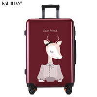 ABS+PC rolling luggage Student suitcase on wheels Travel luggage 20'' Cartoon Cabin carry ons trolley luggage Korean fashion bag