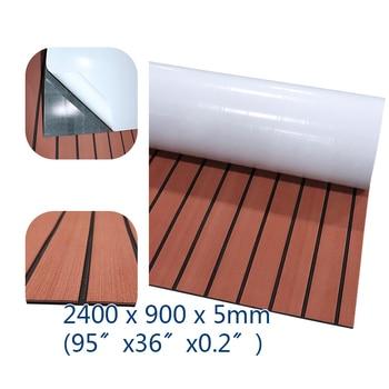 EVA Foam Faux Teak Decking Sheet Yacht Marine Carpet Flooring Mat Non Skid Brown Black Lines Deck Boat Accessories 240cmx90cm