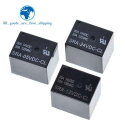 10Pcs 5V 12V 24V 20A DC Power Relay SRA-05VDC-CL SRA-12VDC-CL SRA-24VDC-CL 5Pin PCB Type In stock Black Automobile relay