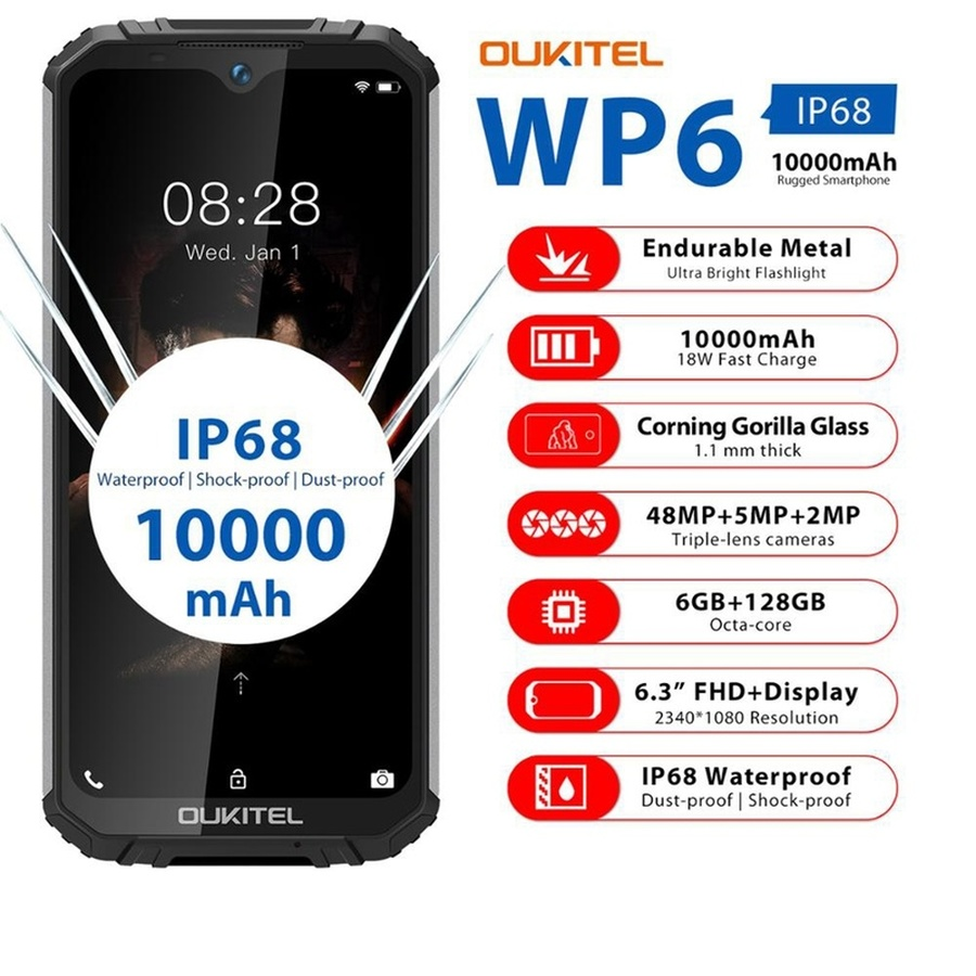 """OUKITEL WP6 Mobile Phone 6.3"""" 6GB RAM 128GB ROM MT6771T Quad Core Android 9.0 10000mAh 48MP  9V/2A IP68 Waterproof Smartphone