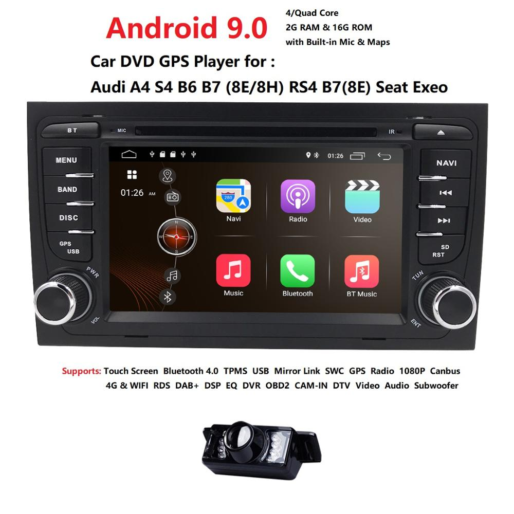 Car Multimedia player Android 9.0 GPS <font><b>2</b></font> <font><b>Din</b></font> Autoradio Stereo System For Audi/A4/S4 Quad Core 2GB RAM wifi Car DVD Player CAM MAP image
