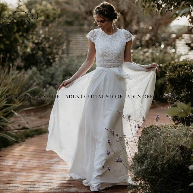 Exquisite Jewel Bohemian Wedding Dress Cap Sleeves Boho Lace Bride Dress Chiffon Beach Bridal Gown Customized 3
