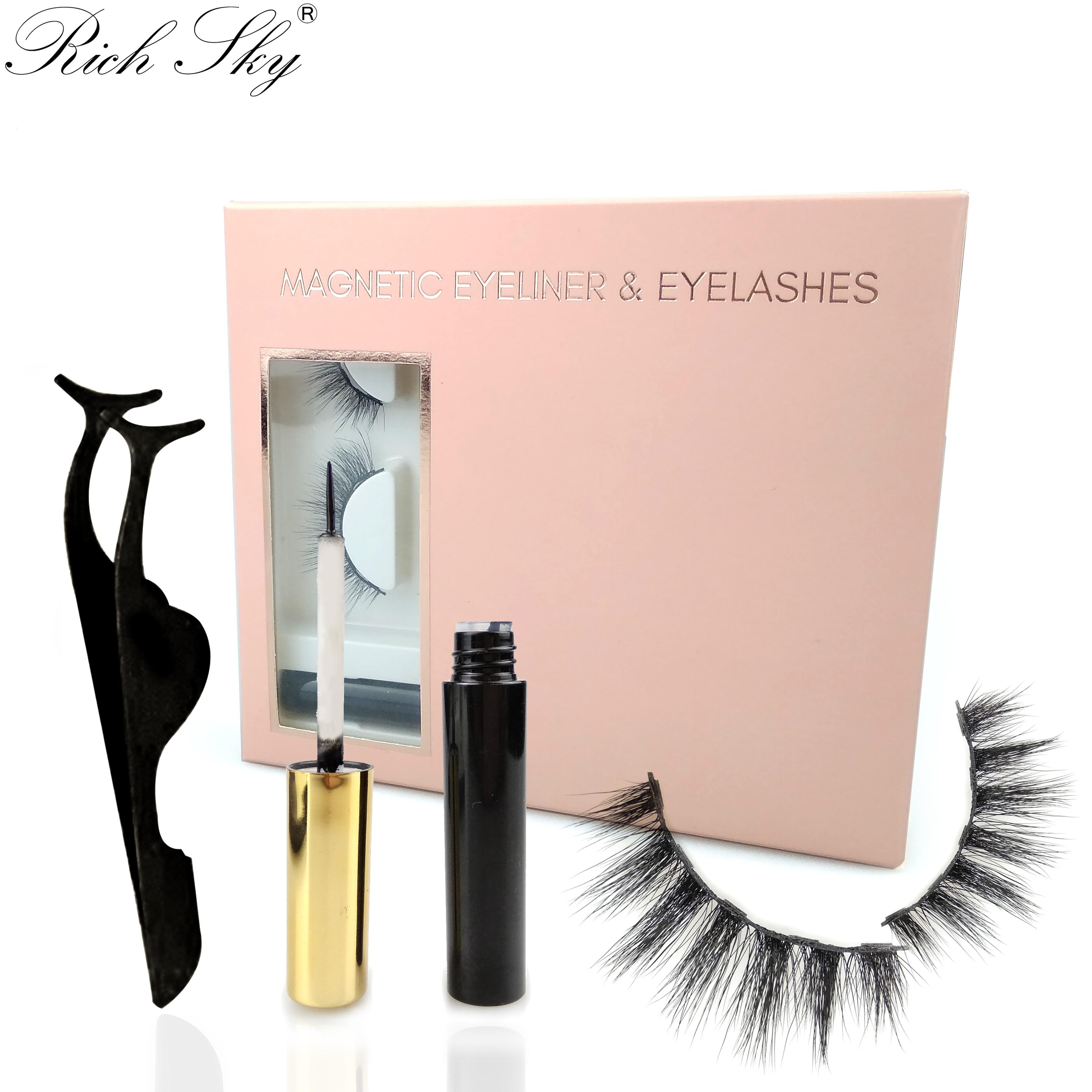 Wholesale 3 Pairs Magnetic Eyeliner Eyelashes  Makeup Tweezer Set Custom Lash Boxes Logo Magnetic Eyelashes