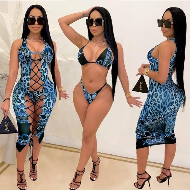2021 Fashion Bikini Set And Matching Cover Dress Womens Sleeveless Hollow Out Laced Beach Dress 3 Pieces Outfits Beachwear S-XL 6