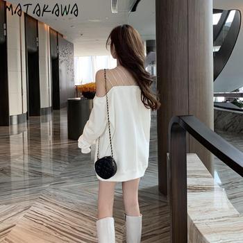 MATAKAWA średniej długości seksowny głęboki dekolt z odkrytymi ramionami bluza damska luźna z długimi rękawami bluza z kapturem z jednym ramieniem tanie i dobre opinie COTTON Poliester spandex CN (pochodzenie) Wiosna jesień REGULAR Pełna STANDARD PayPal account Slim 8E319 Swetry Z włókien syntetycznych