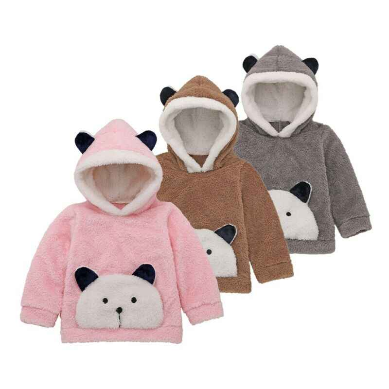 0-3y 귀여운 유아 유아 아기 소년 소녀 후드 탑 겨울 따뜻한 유아 아기 소년 소녀 가짜 모피 양털 스웨터 후드 의류