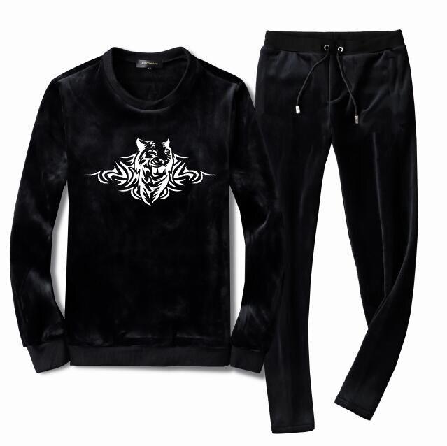 Men's Velour Velvet Sport Tracksuit Track Suit Outwear 2PC Jacket Coat Pants Trousers Sets Long Slv Outfits Tiger