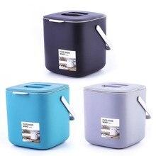 2021 novo portátil 2 camada de plástico cozinha resíduos lata de lixo com alça composto escorredor bin