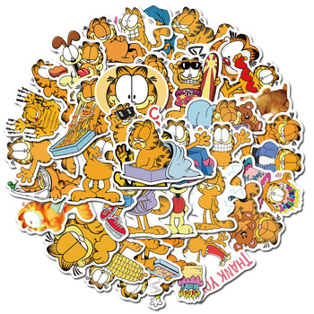 50 Pcs Garfield Sticker Cartoon Stickers Anime Stickers for DIY Luggage Laptop Skateboard Motorcycle Bicycle Stickers garfield large