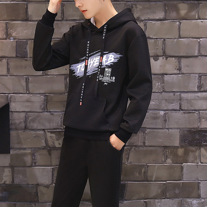 Teenager Hoodie Korean-style Trend Junior High School Students Men Spring 2019 New Style Leisure Sports Suit Hoodie
