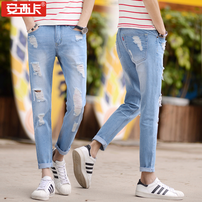 Spring And Summer New Style Fashion Man With Holes Denim (Ankle-length Pants) Fashion Casual Men With Holes Denim (Ankle-length