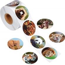 8 видов стилей наклейки на животных животные рулонные наклейки 1 дюйм клейкие ярлыки с животными для детей вечерние знак признательности, Канцелярия стикер