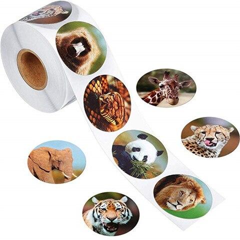 rolo adesivos 1 polegada 8 estilos animais adesivos animal do jardim zoologico adesivo animais papelaria