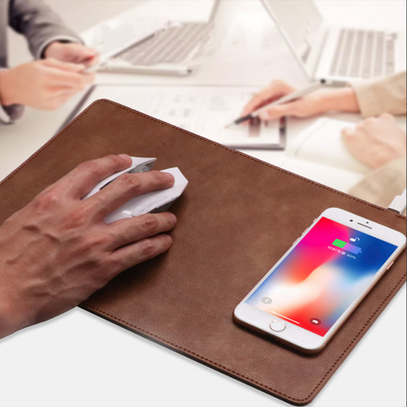 Wireless Charging Mouse Pad Mobile Phone Wireless Charger Fast Charging Mouse Pad Mat PU Leather Mousepad for Smartphone