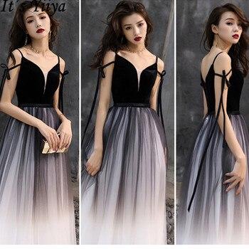 цена на It's YiiYa 2019 Evening Dress Sexy Slim Spaghetti Strap Formal Gown Contrast Color Elegant Lace Up Women Party Long Dresses E030