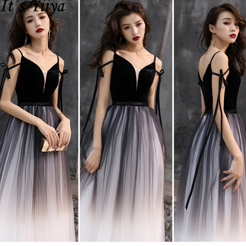 It's YiiYa 2019   Evening     Dress   Sexy Slim Spaghetti Strap Formal Gown Contrast Color Elegant Lace Up Women Party Long   Dresses   E030