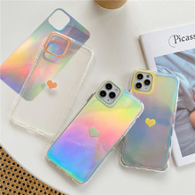 Luxury Laser Love Heart Soft Phone Case for iPhone