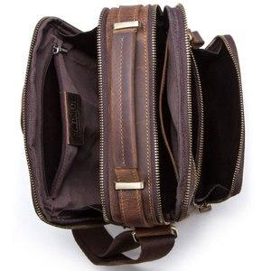 Image 3 - High quality brand crazy horse leather mens shoulder bag vintage messenger bags men bolsos male crossbody bags mans handbag
