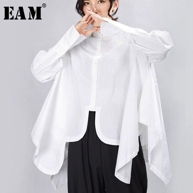 [EAM] 여성은 큰 사이즈 불규칙 블라우스 새 옷깃 긴 소매 느슨한 맞춤 셔츠 패션 조수 봄 가을 2020 1A332