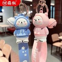 Anime Cartoon Keychain Ring Epoxy Niedlichen Pullover Bär Jungen Mädchen Taschen Handy Paar Anhänger Auto Schlüssel Ring Kleines Geschenk
