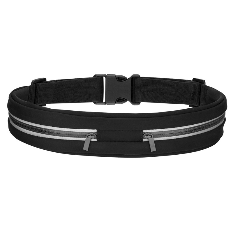 SOURCE Factory Outdoor Fitness Body Hugging Hidden Double Pocket Sports Waist Pack Multi-functional Reflective Zipper Waist Pack