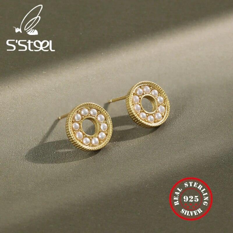 Tortoise Shell Art Medium Dark Red Wine Round Stud Hoop 38mm Light Plastic Silver 925 Gold Titanium Earrings