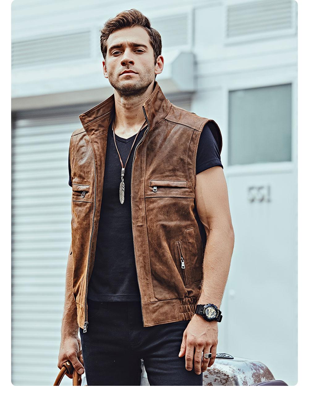 Hfdfe4b12993f4b15a09f964052472e81M Mew Men's Leather Retro Vest Stand Collar Men's Motorcycle Casual Vest