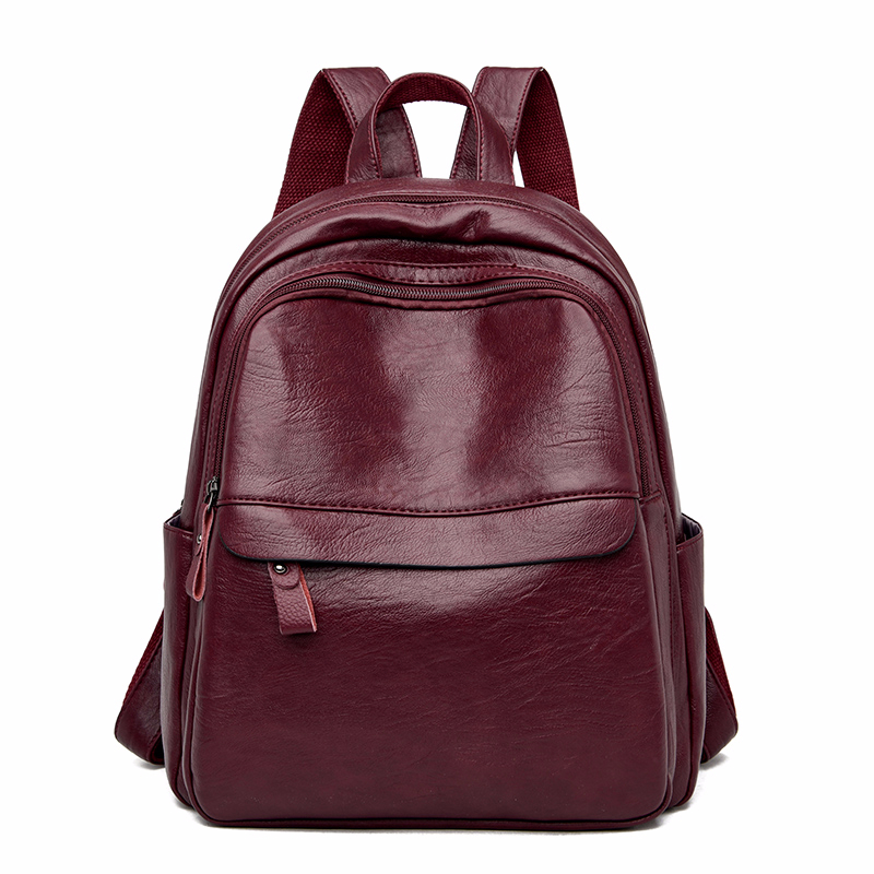 2020 Women Leather Backpacks Vintage Bagpack Ladies Travel Shoulder Bag High Quality Sac A Dos Femme  Mochilas School Bags Girls
