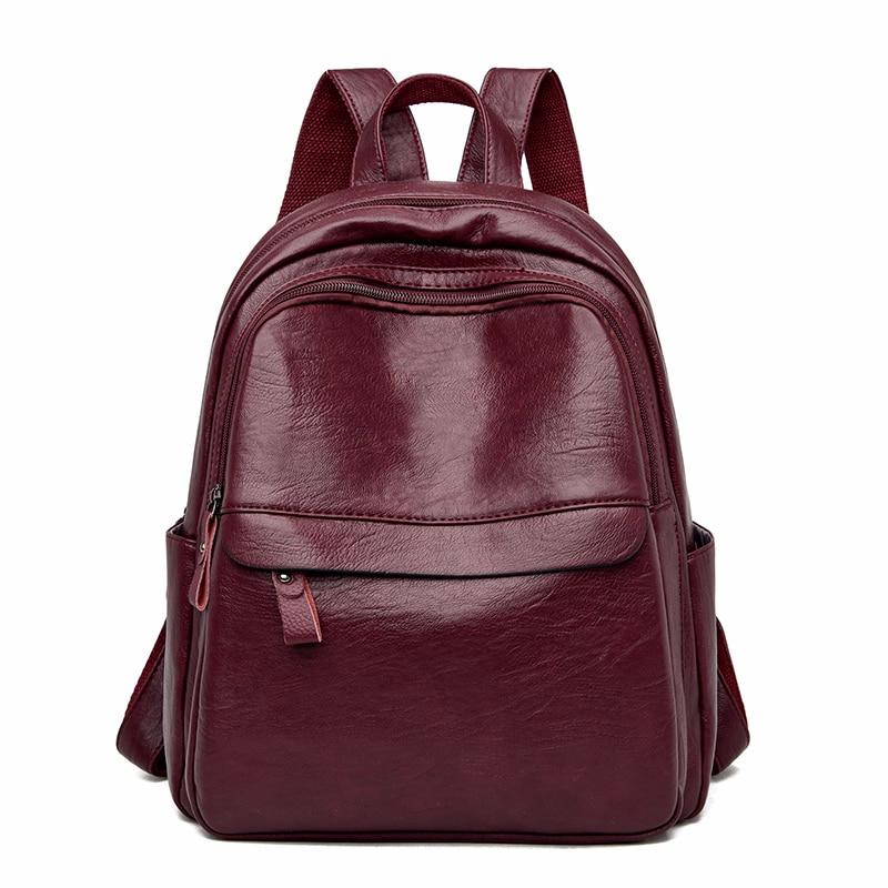 2020 Women Leather Backpacks Vintage Bagpack Ladies Travel Shoulder Bag High Quality Sac A Dos Femme  Mochilas School Bags Girls