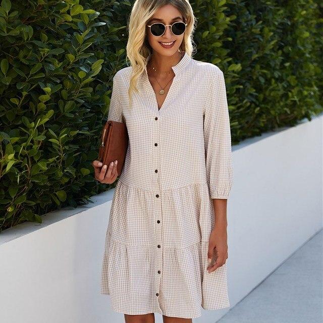 2021 Fashion Leopard Print Women Shirt Dress Summer Sexy V neck Single Breasted Three Quarter Casual Loose Short Dresses Vestido 4