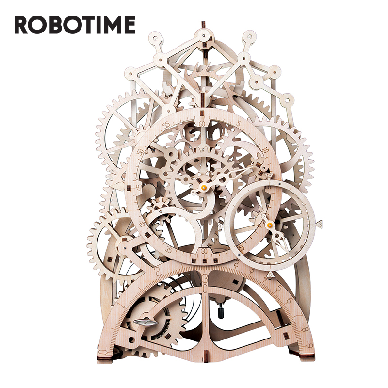 Robotime DIY 3D Wooden Puzzle Model Toys Assembly Mechanical Gear Drive Toys Gift For Children Adult Teens