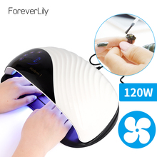 Lámpara UV LED de 120W para manicura, secador de esmalte de Gel para salón, lámpara UV inteligente con temporizador de 10s/30s/60s/99s
