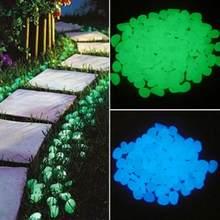 100/500 pçs decoração do jardim brilho no escuro pedras brilhantes decorativos seixos tanque de peixes ao ar livre pedras luminosas para aquário