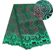 غاري الأخضر الأربطة الأفريقية المطرزة النيجيري الأربطة النسيج جودة عالية من دبي الفرنسية شبكة نسيج الدانتيل 5 ياردة