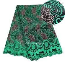 ゲイリーグリーンアフリカ刺繍ナイジェリア生地高品質ドバイフランスのメッシュレース生地5ヤード
