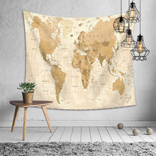 World Map Tapestry Headboard Wall Art Bedspread Dorm Tapestry for Living Room Bedroom Home Decor