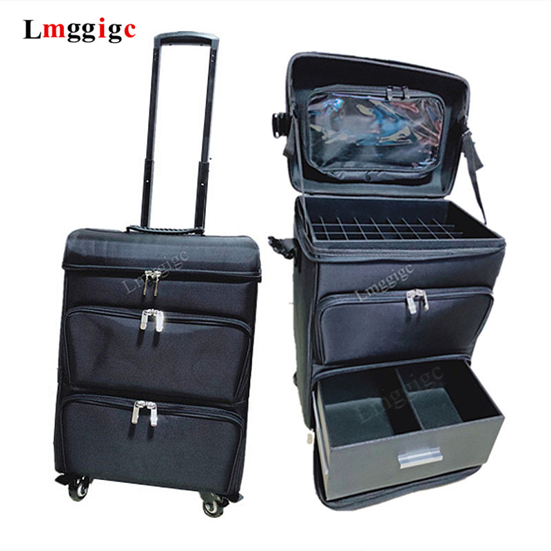 Canvas+PVC Cosmetic Bags, Makeup Toolbox  With Wheel,Artist Suitcase Bag,Multi-layer Barber Luggage, Tattoos Trolley Case