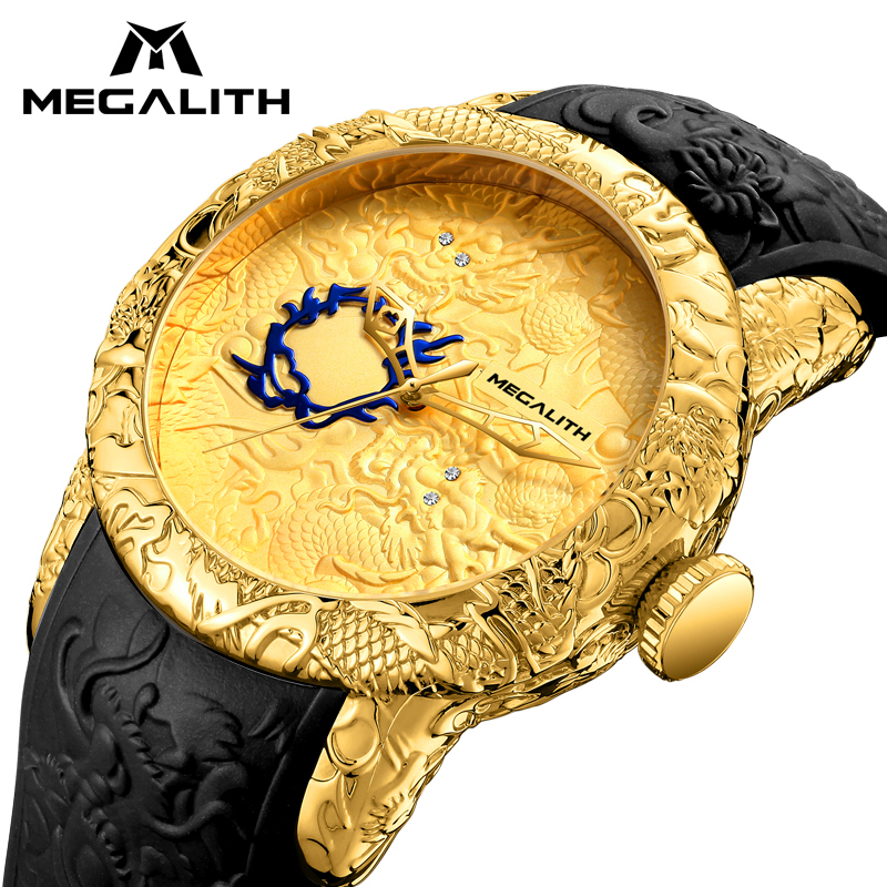 MEGALITH Fashion Men Watch Top Luxury Brand Gold Dragon Sculpture Watch Men Quartz Watch Waterproof Big Dial Sports Watches Man