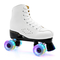 JK Adult PU Leather Roller Skates Double Line Rollerblade Two Line Skating Shoes With PU Flashing Wheel Quad Skates Good Patines