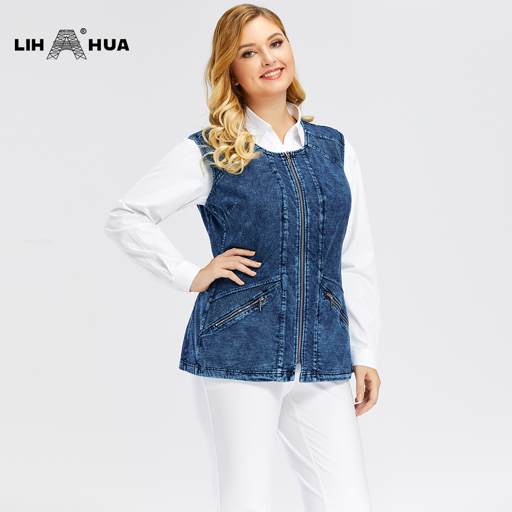 LIH HUA Women's Plus Size Casual Denim Vest  Stockinet High Flexibility Casual Jeans Vest