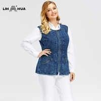 LIH HUA frauen Plus Größe Casual Denim Weste stockinet hohe flexibilität Casual jeans Weste