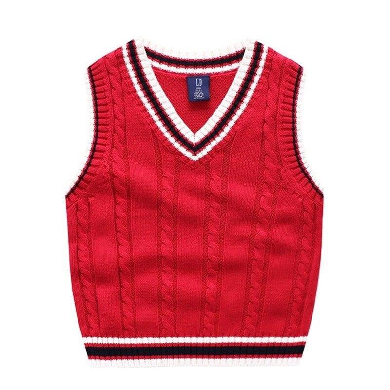 Autumn And Winter School Uniform Vest Boy Knitted Sweater Boy Sweater Autumn Children's Sleeveless Vest 3