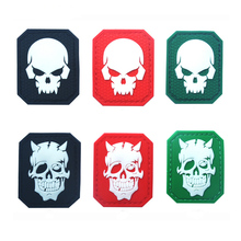 1PC PVC Rubber Epoxy Skulls Armband K9 Service Dog Badge Epaulette Patch for Backpacks Acrylic Badges Glow-in-the-dark
