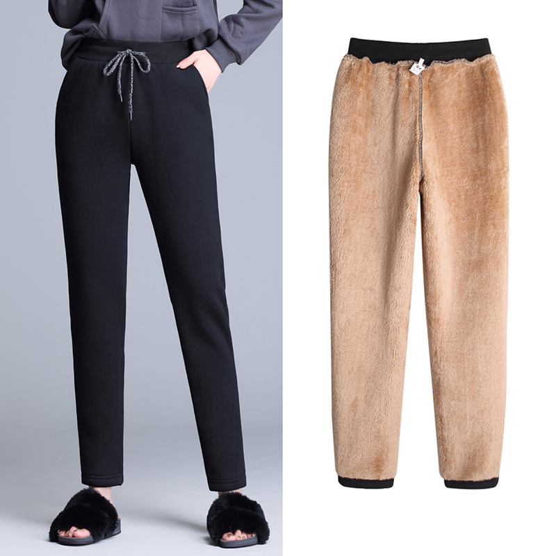 2019 Fleece Pants For Women Winter Fashion High Waist Solid Trousers Casual Loose Warm Thicken OL Pants Streetpants P9202
