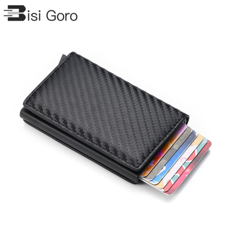 BISI GORO Smart Wallet Business Card Holder Rfid Wallet Aluminum Metal Credit Business Mini Card Wallet Dropshipping Man Women