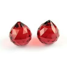Czerwony 15mm 20mm 30mm 40mm fasetowane kulki K9 części żyrandola kryształowego pryzmat Suncatcher do zawieszenia dekoracji ślubnych tanie tanio drop crystal CN (pochodzenie) Kryształowy żyrandol