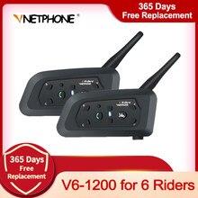Vnetphone-Intercomunicador de capacete V6 Multi BT 1200 m, bluetooth, headset intercom para motos e motocicletas, fone para 6 motociclistas